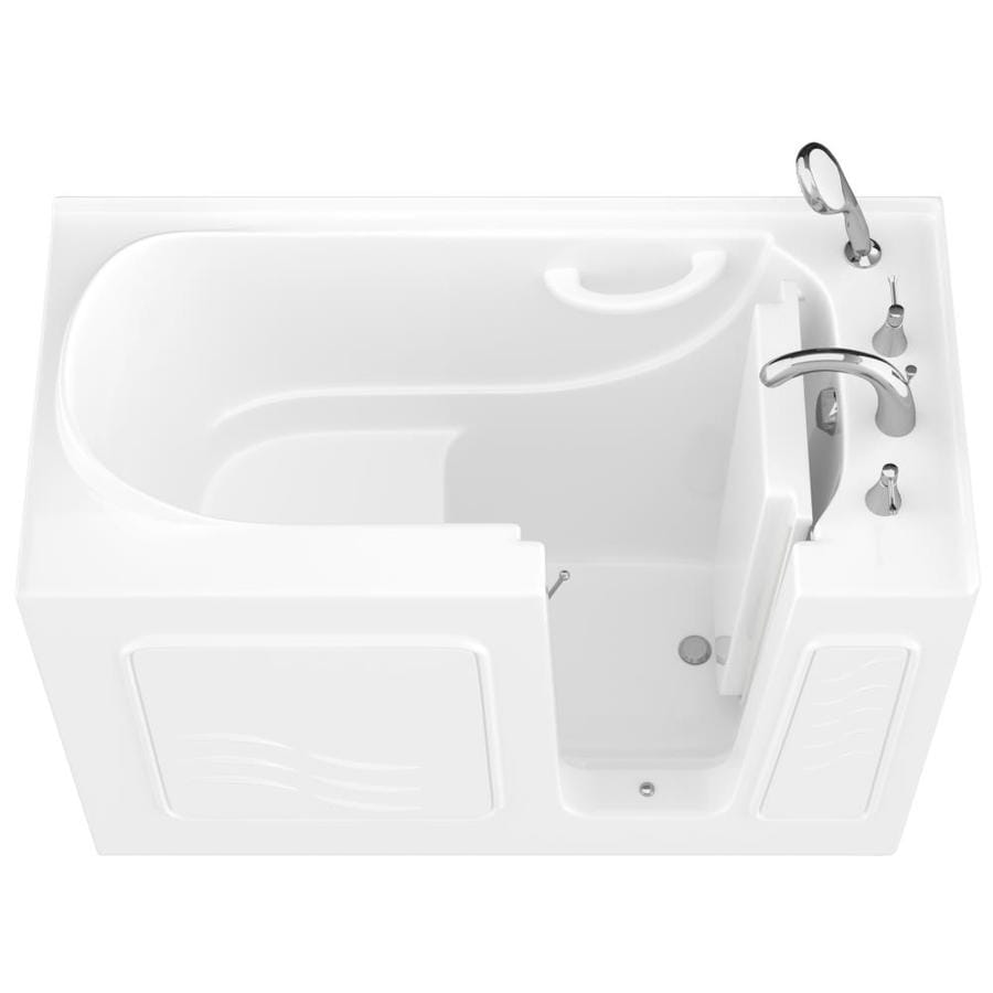 Endurance 27-in White Gelcoat/Fiberglass Walk-In Bathtub with Right-Hand Drain
