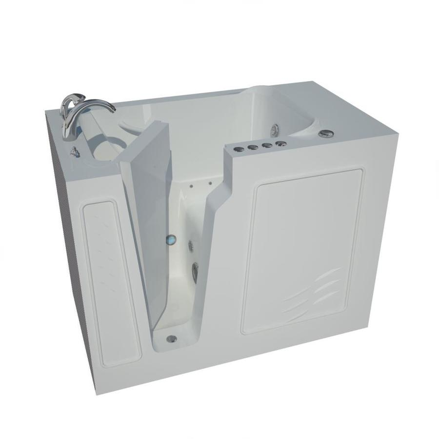 Endurance 52-in White Gelcoat/Fiberglass Walk-In Whirlpool Tub and Air Bath with Left-Hand Drain