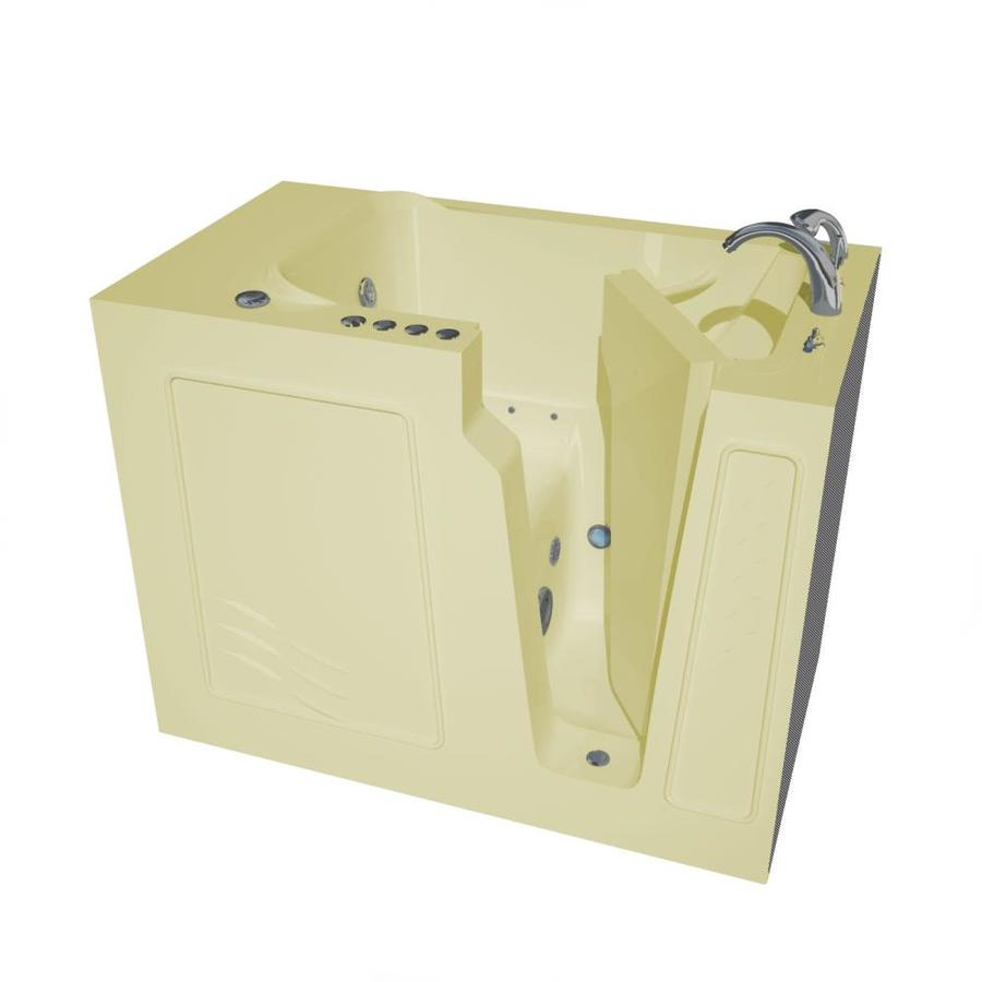 Endurance 52-in Biscuit Gelcoat/Fiberglass Walk-In Whirlpool Tub and Air Bath with Right-Hand Drain
