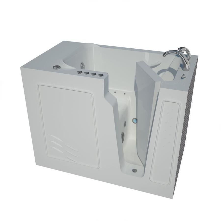 Endurance 52-in L x 29-in W x 40-in H White Gelcoat and Fiberglass Rectangular Walk-in Whirlpool Tub and Air Bath