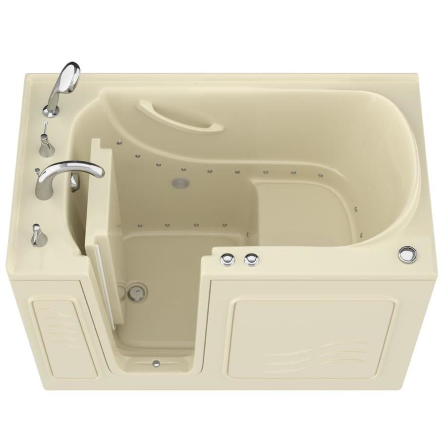 Endurance 53-in Biscuit Gelcoat/Fiberglass Walk-In Air Bath with Left-Hand Drain