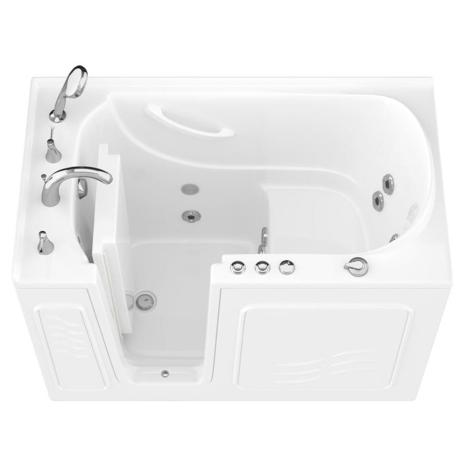 Endurance 30-in White Gelcoat/Fiberglass Walk-In Whirlpool Tub with Left-Hand Drain