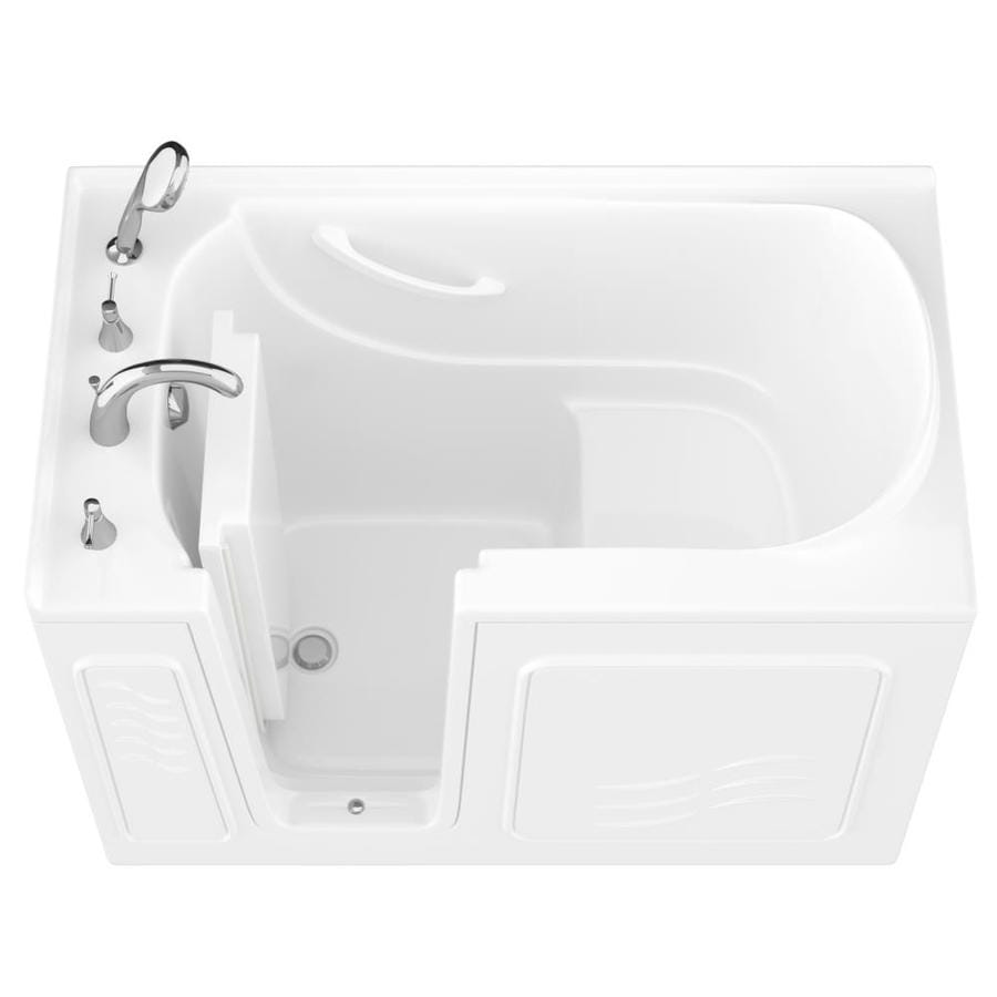 Endurance 30-in White Gelcoat/Fiberglass Walk-In Bathtub with Left-Hand Drain