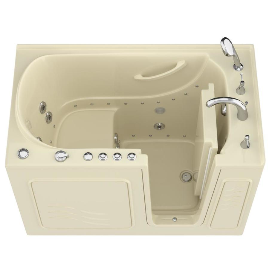 Endurance 53-in Biscuit Gelcoat/Fiberglass Walk-In Whirlpool Tub and Air Bath with Right-Hand Drain