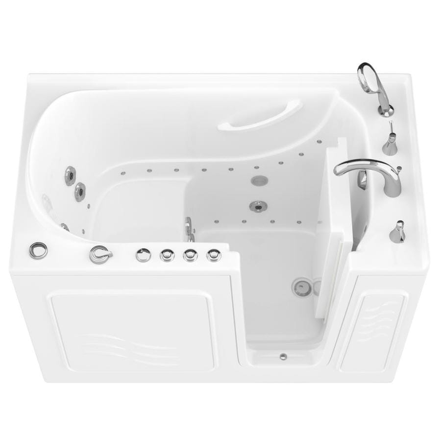 Endurance 53-in White Gelcoat/Fiberglass Walk-In Whirlpool Tub and Air Bath with Right-Hand Drain