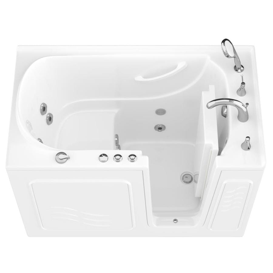 Endurance 30-in White Gelcoat/Fiberglass Walk-In Whirlpool Tub with Right-Hand Drain