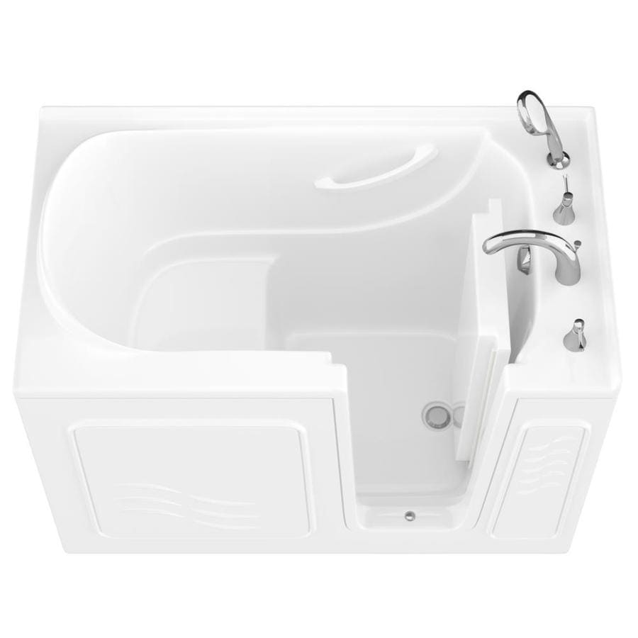 Endurance 30-in White Gelcoat/Fiberglass Walk-In Bathtub with Right-Hand Drain