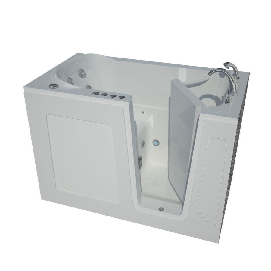 Shop Endurance 54 In White Acrylic Walk In Whirlpool Tub And Air Bath With Ri