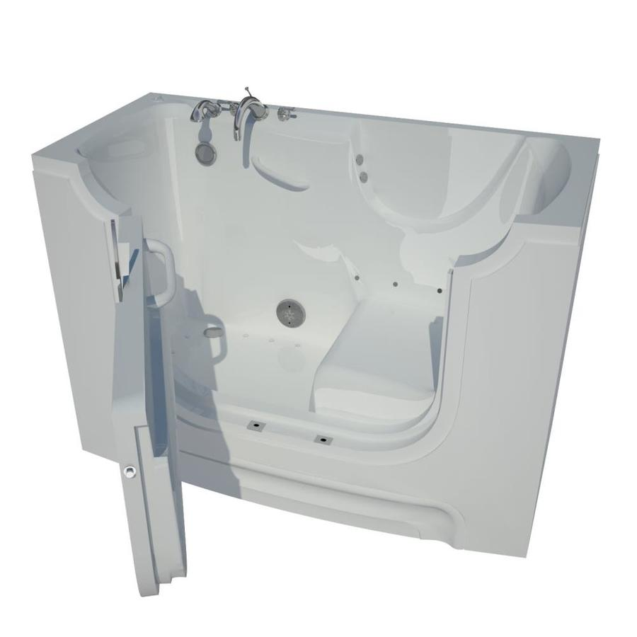 Endurance 60-in L x 30-in W x 43-in H White Gelcoat and Fiberglass Rectangular Walk-in Air Bath