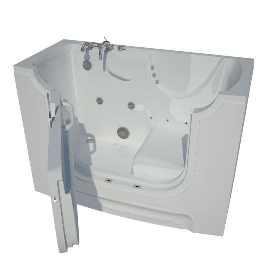 Endurance 60-in White Gelcoat/Fiberglass Walk-In Whirlpool Tub and Air Bath with Left-Hand Drain