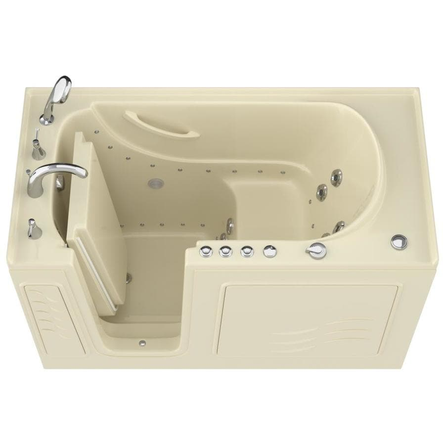 Endurance 60-in Biscuit Gelcoat/Fiberglass Walk-In Whirlpool Tub and Air Bath with Left-Hand Drain