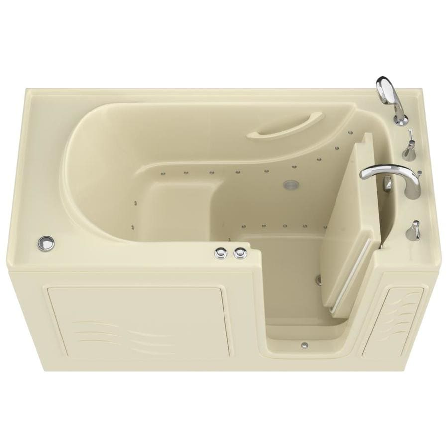 Endurance 60-in Biscuit Gelcoat/Fiberglass Walk-In Air Bath with Right-Hand Drain