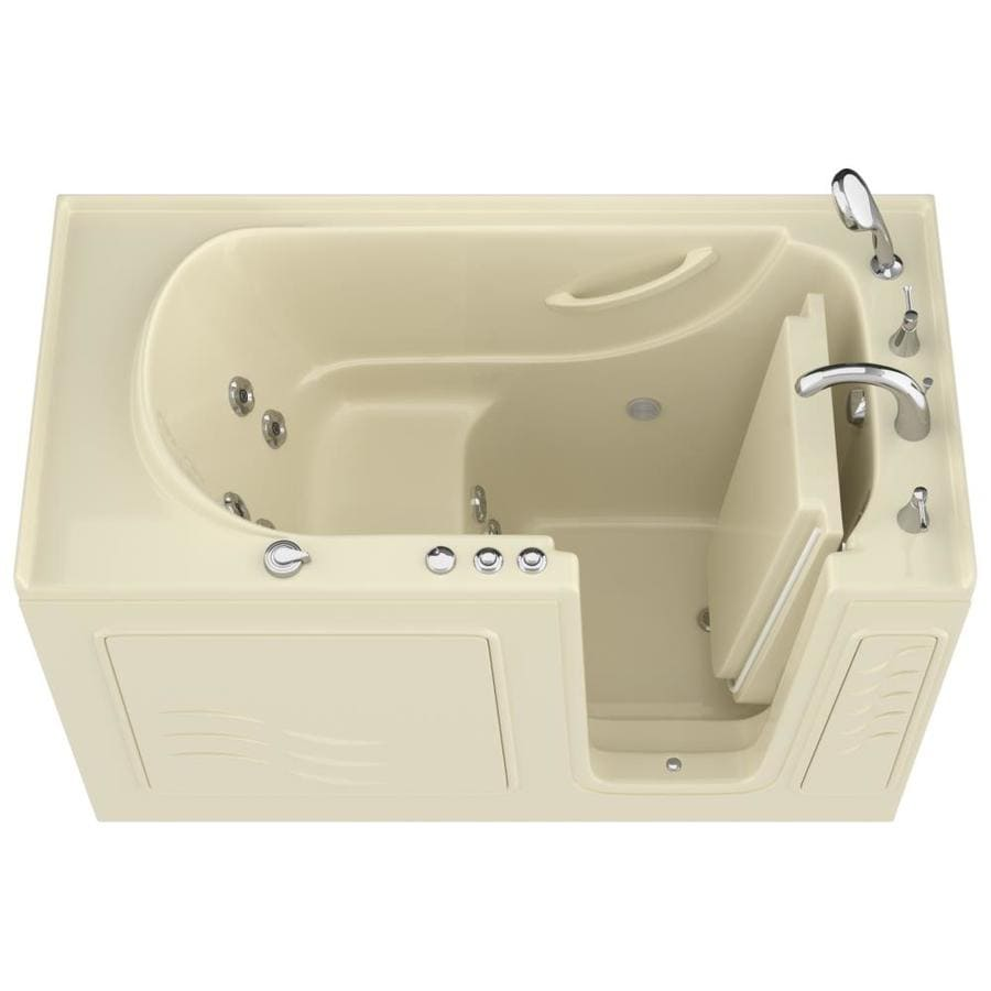 Endurance 30-in Biscuit Gelcoat/Fiberglass Walk-In Whirlpool Tub with Right-Hand Drain