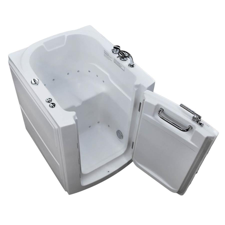 Endurance 38-in White Acrylic Walk-In Air Bath with Left-Hand Drain