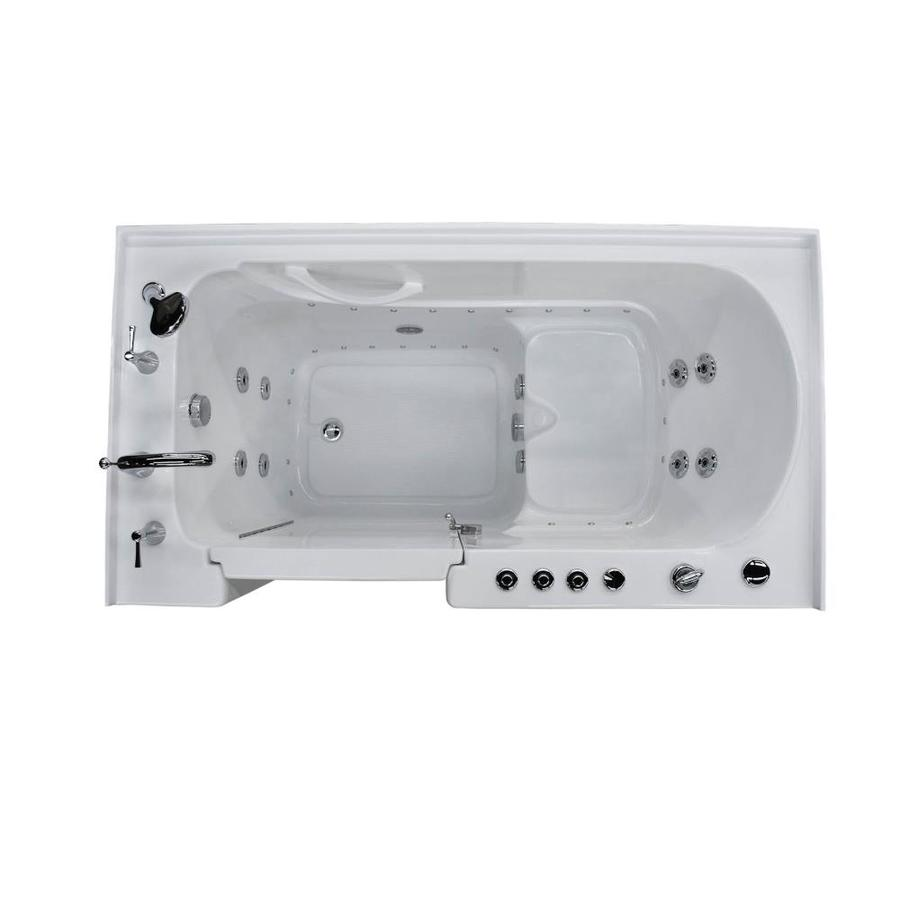 Endurance 60-in White Acrylic Walk-In Whirlpool Tub And Air Bath with Left-Hand Drain