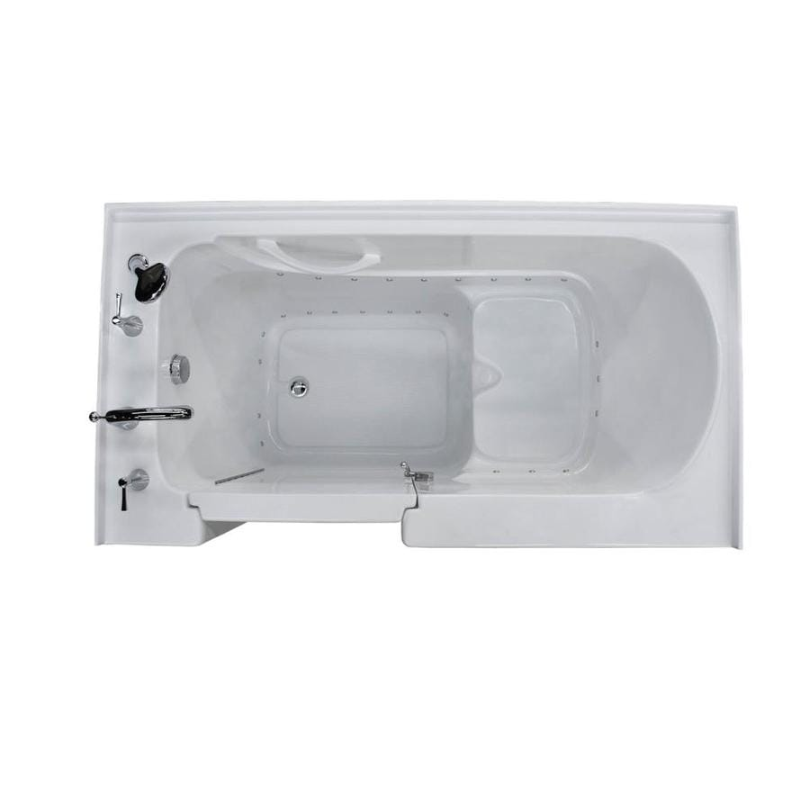 Endurance 32-in White Acrylic Walk-In Bathtub with Left-Hand Drain