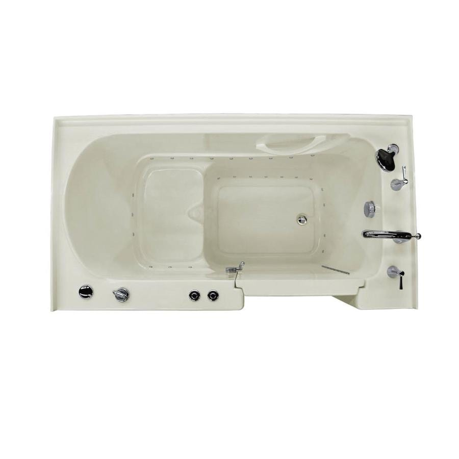 Endurance 60-in Biscuit Acrylic Walk-In Air Bath with Right-Hand Drain