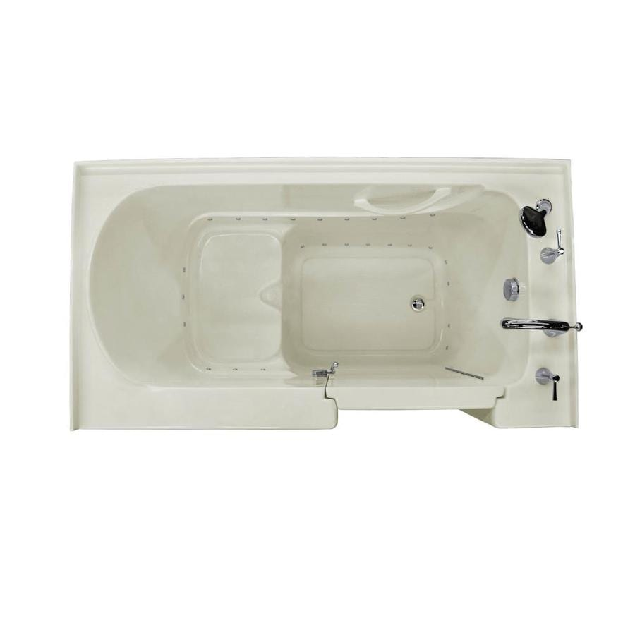 Endurance 32-in Biscuit Acrylic Walk-In Bathtub with Right-Hand Drain