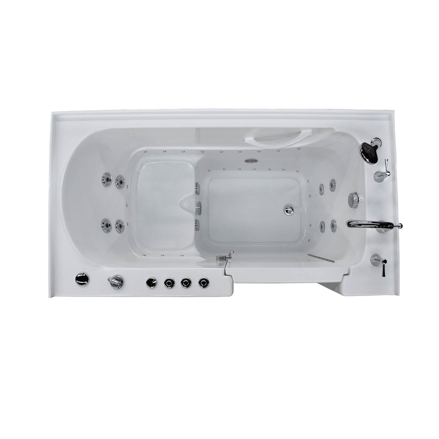 Endurance 60-in L x 32-in W x 40-in H White Acrylic Rectangular Walk-in Whirlpool Tub and Air Bath