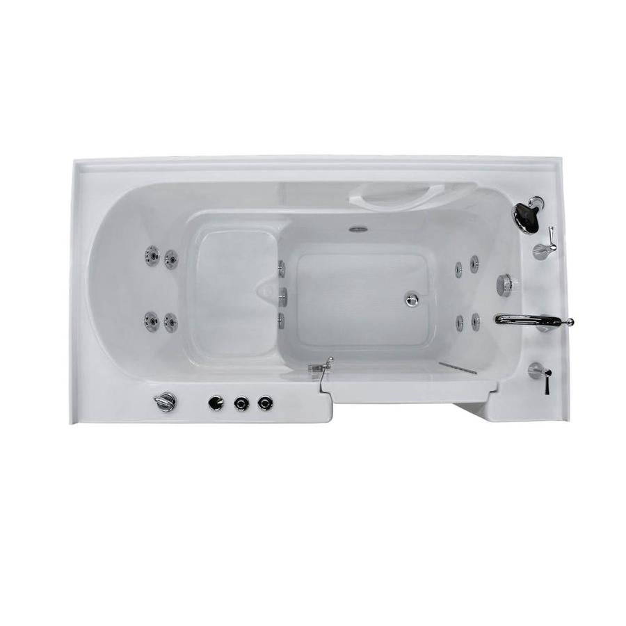 Endurance 32-in White Acrylic Walk-In Whirlpool Tub with Right-Hand Drain