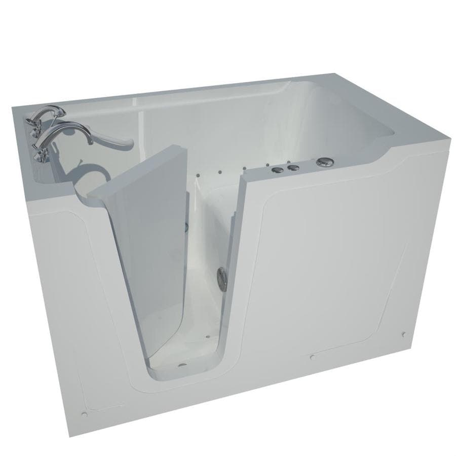 Endurance 60-in White Gelcoat/Fiberglass Walk-In Air Bath with Left-Hand Drain