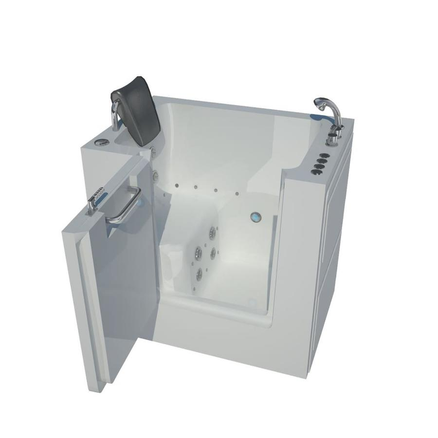 Endurance 40-in White Acrylic Walk-In Whirlpool Tub And Air Bath with Right-Hand Drain