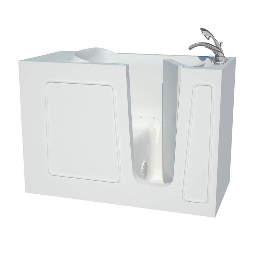 Endurance 53-in White Gelcoat/Fiberglass Walk-In Air Bath with Right-Hand Drain