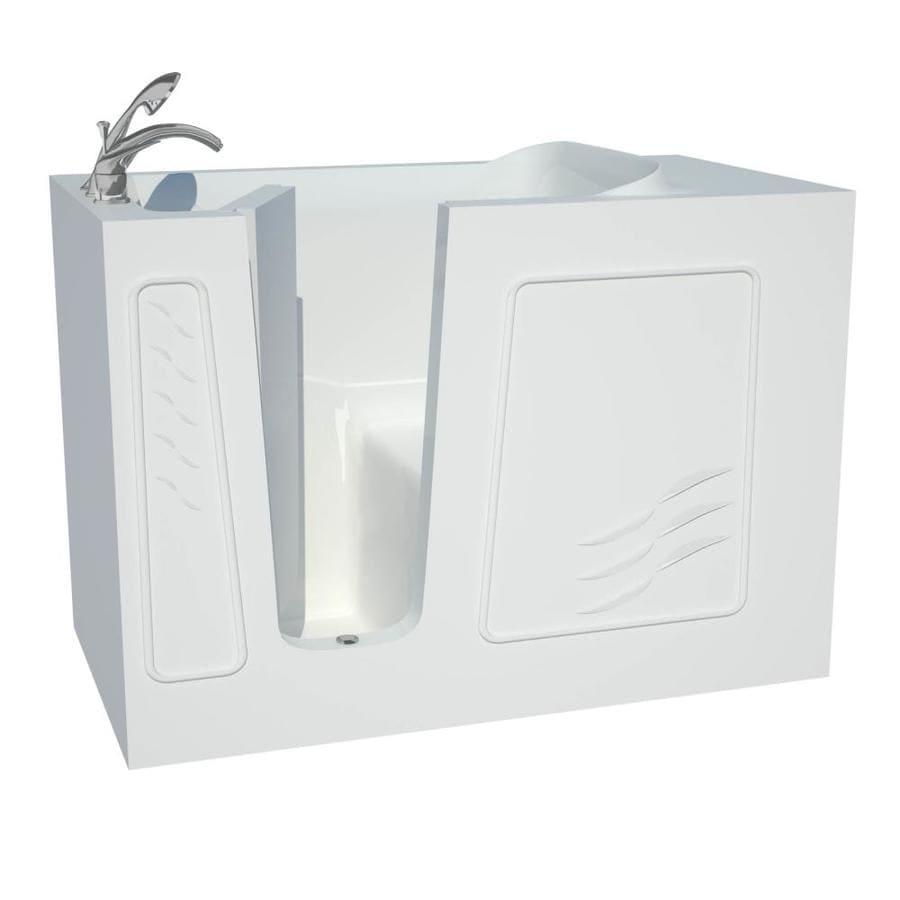 Endurance Gelcoat and Fiberglass Rectangular Walk-in Bathtub with Left-Hand Drain (Common: 60-in x 30-in; Actual: 38-in x 53-in x 30-in)