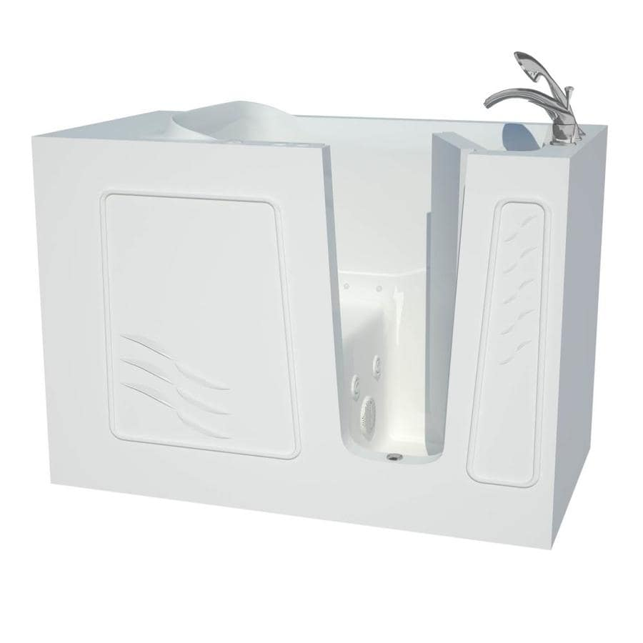 Endurance 53-in L x 30-in W x 38-in H White Gelcoat and Fiberglass Rectangular Walk-in Whirlpool Tub and Air Bath