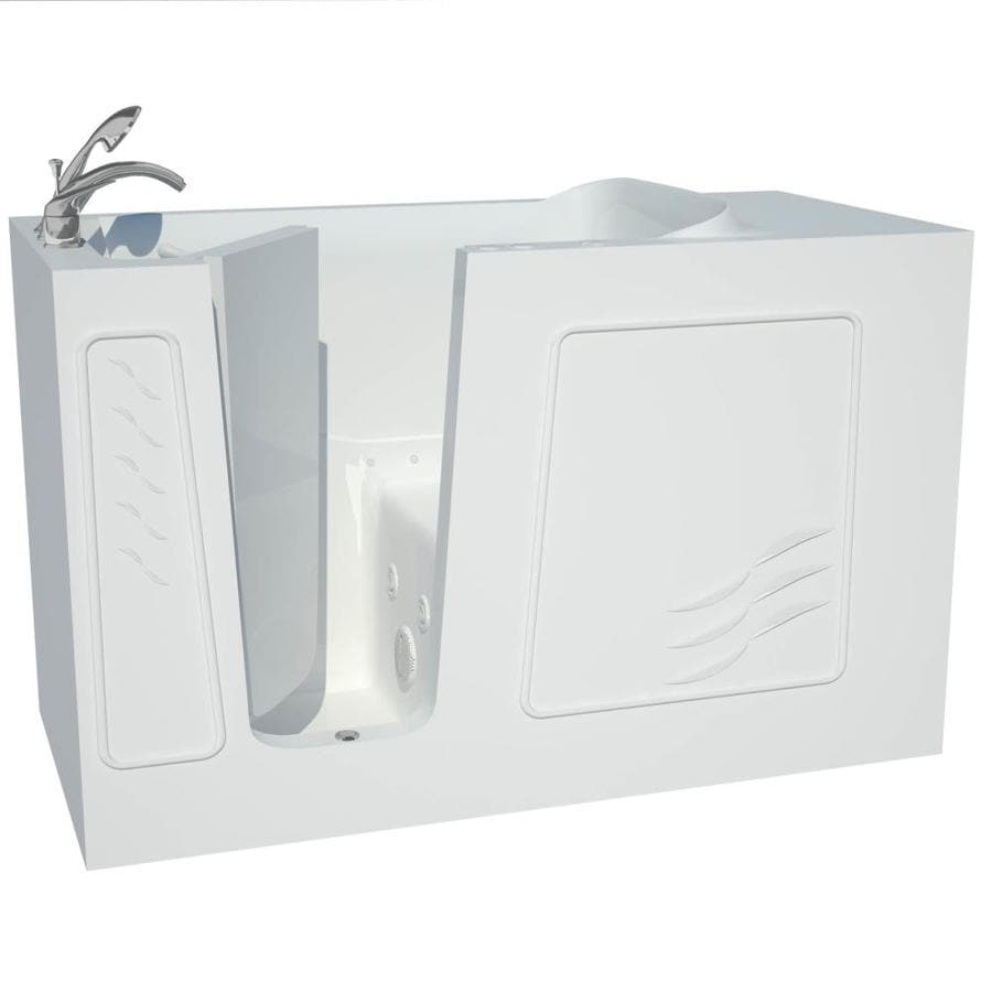 Shop Endurance 60 In White Gelcoat Fiberglass Walk In Whirlpool Tub And Air B