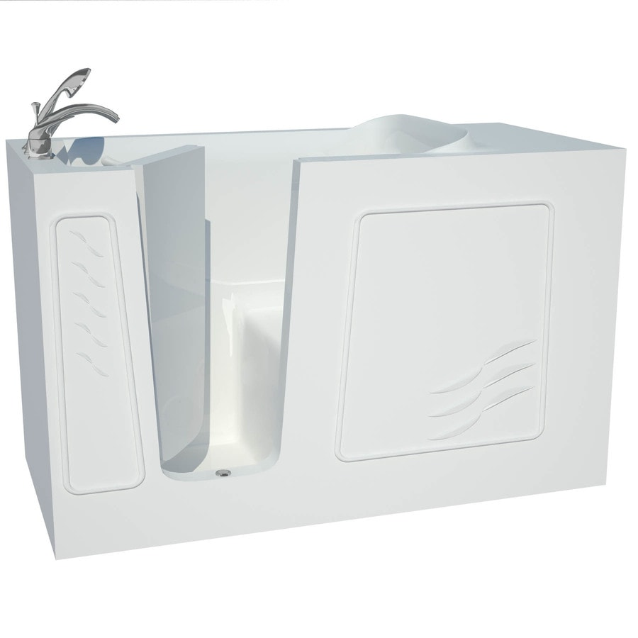 Endurance 30-in White Gelcoat/Fiberglass Walk-In Bathtub with Left-Hand Drain