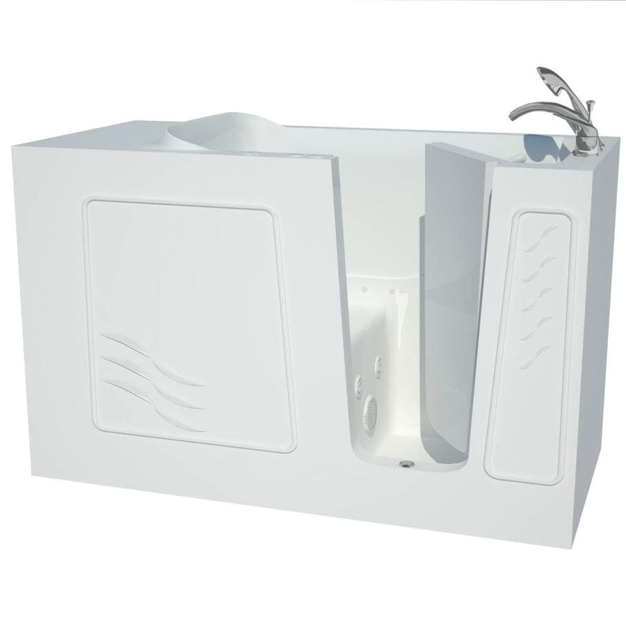 Endurance 60-in White Gelcoat/Fiberglass Walk-In Whirlpool Tub and Air Bath with Right-Hand Drain