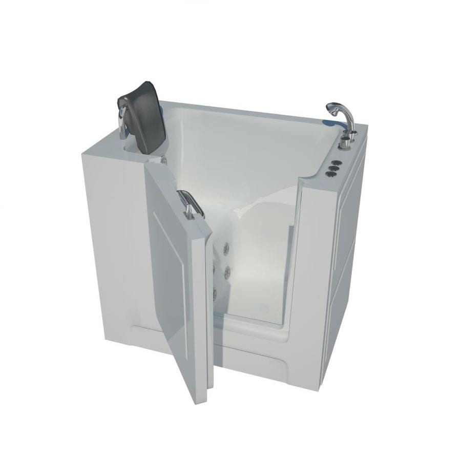 Endurance 27-in White Acrylic Walk-In Whirlpool Tub with Right-Hand Drain