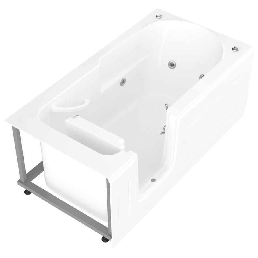 Endurance 30-in White Acrylic Walk-In Whirlpool Tub with Left-Hand Drain