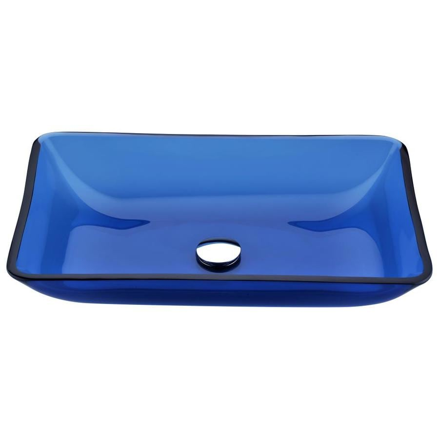 ANZZI Harmony Cloud Blue Tempered Glass Rectangular Vessel Bathroom Sink (Drain Included)