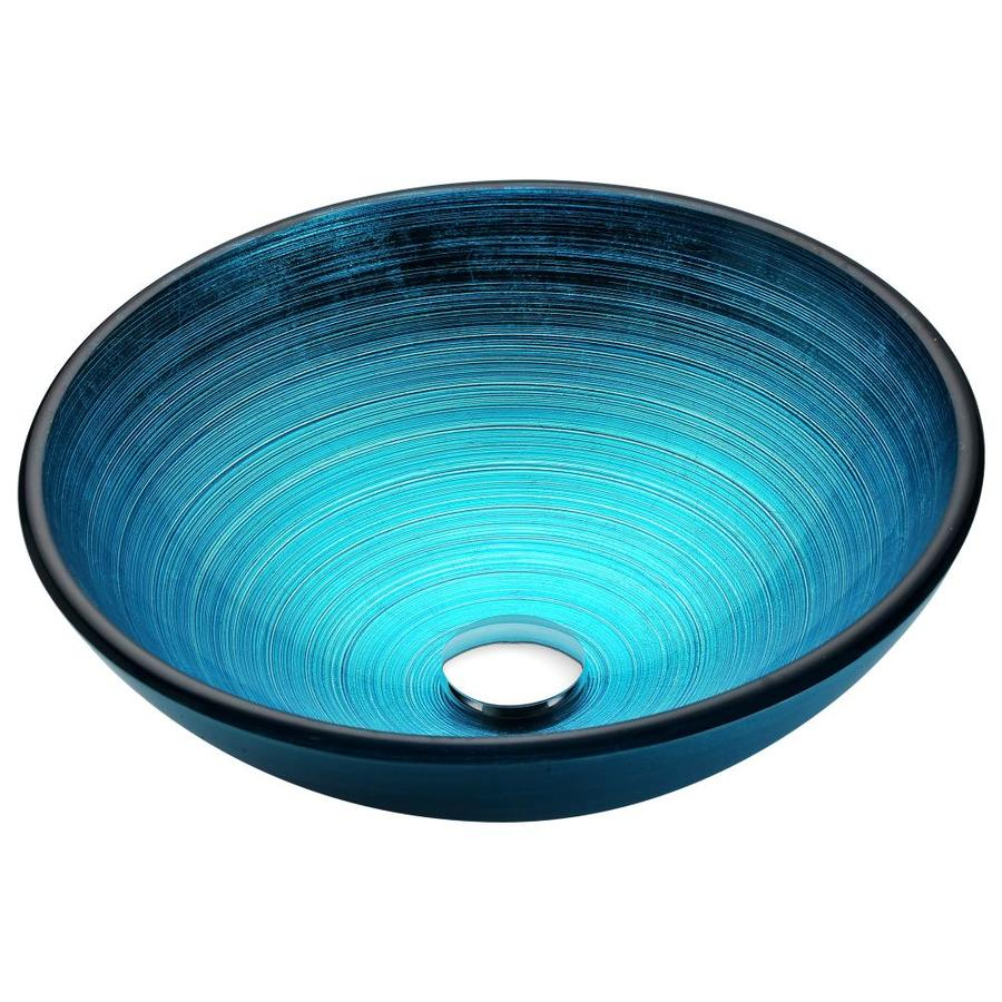 ANZZI Enti Lustrous Blue Tempered Glass Round Vessel Bathroom Sink (Drain Included)