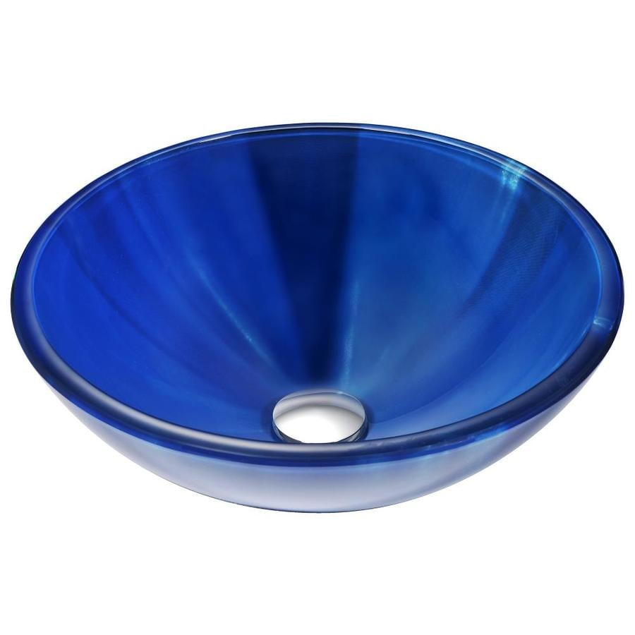 Shop ANZZI Meno Lustrous Blue Tempered Glass Round Vessel Bathroom ...