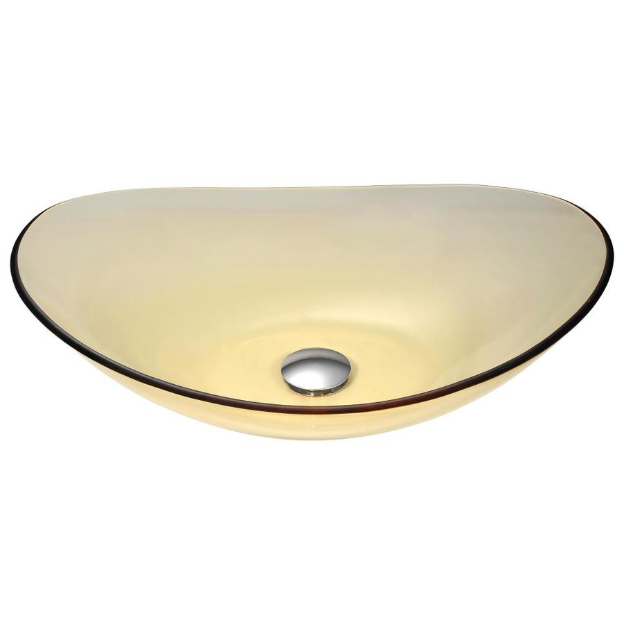 ANZZI Mesto Translucent Gold Tempered Glass Oval Vessel Bathroom Sink (Drain Included)