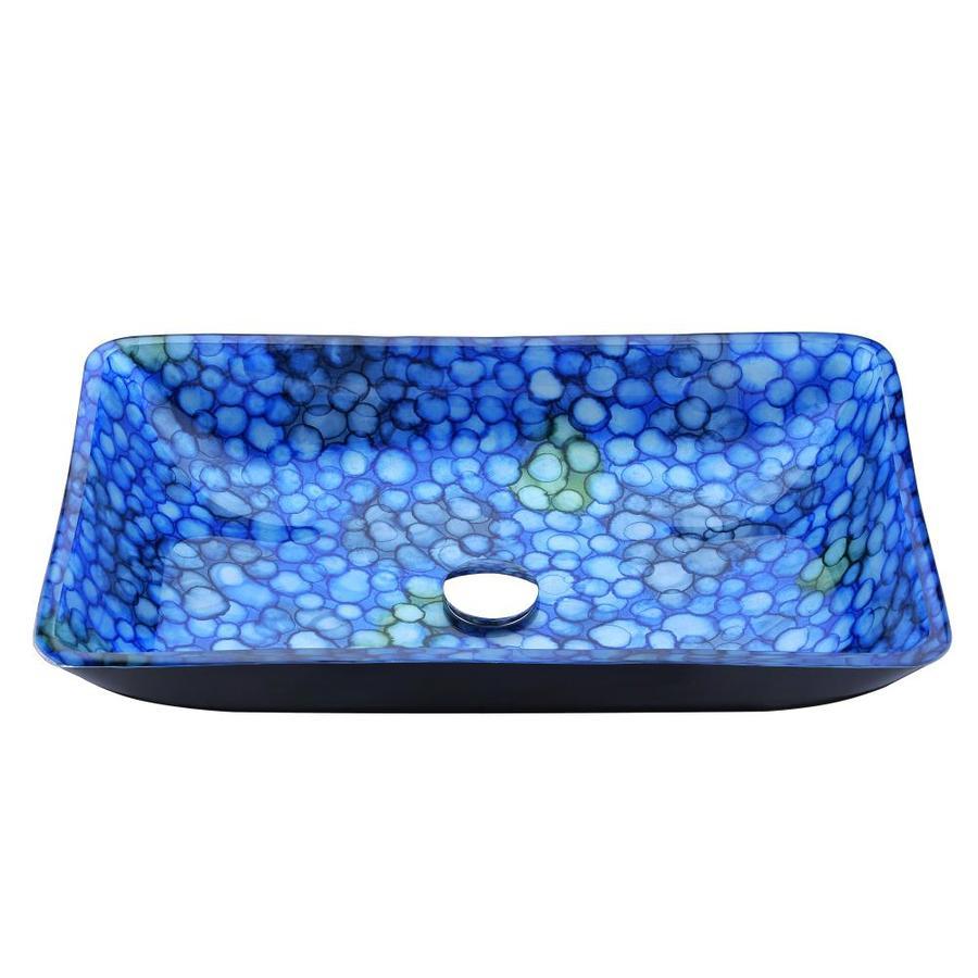 Shop ANZZI Assai Blue Tempered Glass Rectangular Vessel Bathroom ...