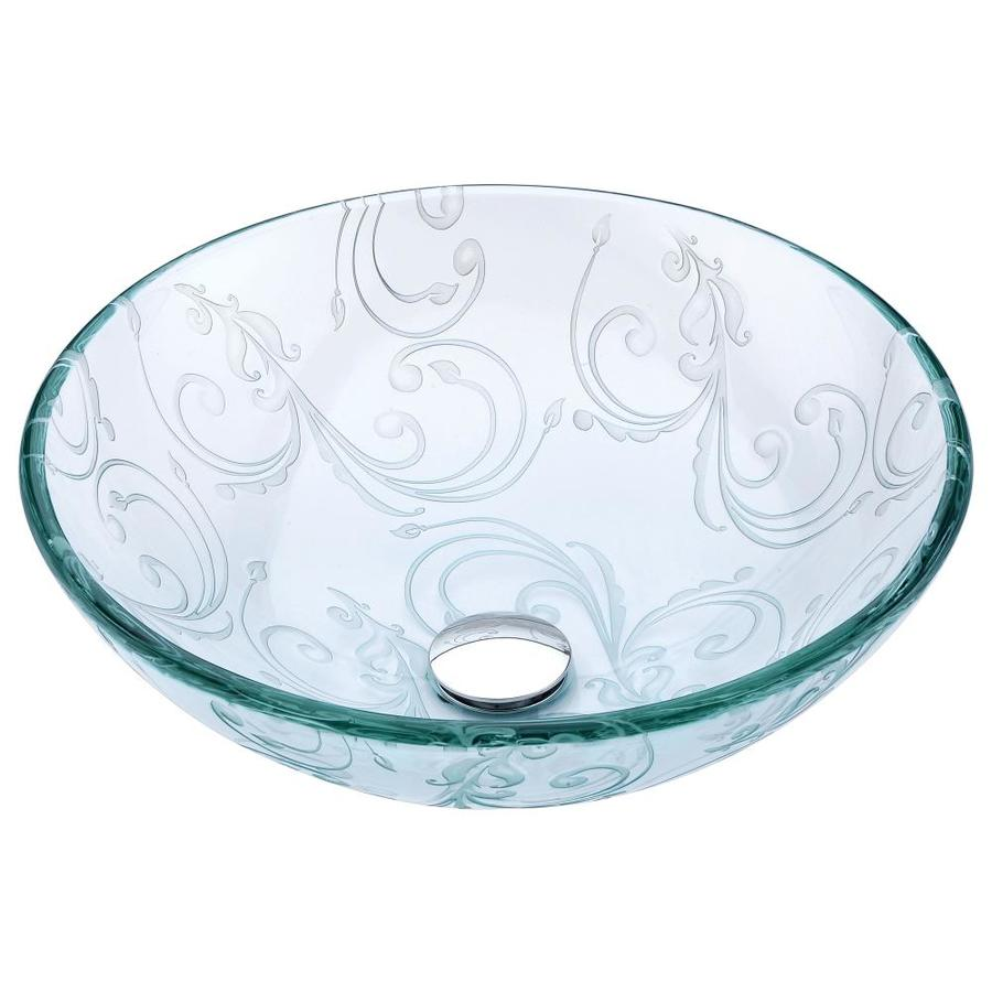 ANZZI Vieno Clear Floral Tempered Glass Round Vessel Bathroom Sink (Drain Included)