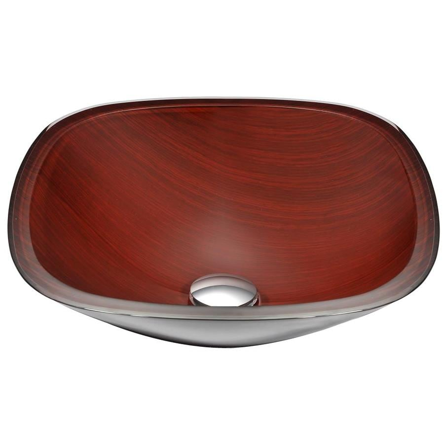 ANZZI Cansa Rich Timber Tempered Glass Square Vessel Bathroom Sink (Drain Included)