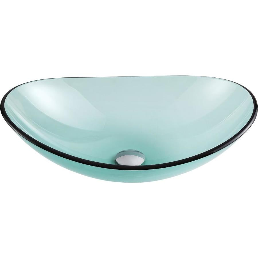 Shop Anzzi Major Lustrous Green Tempered Glass Oval Vessel Bathroom Sink Drain Included At