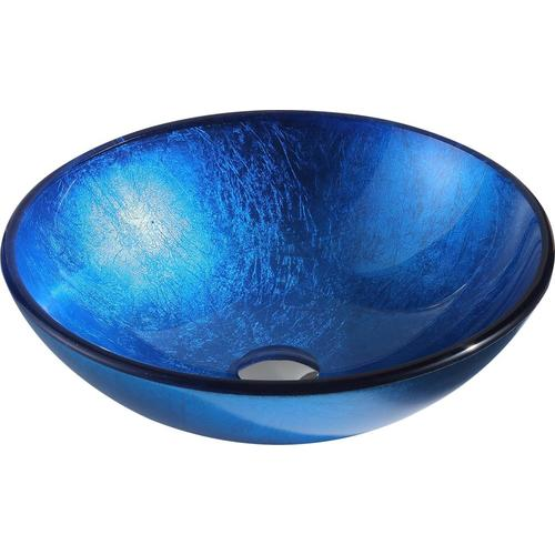 Anzzi Clavier Lustrous Blue Tempered Glass Vessel Round