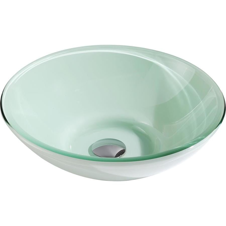 Shop Anzzi Sonata Lustrous Light Green Tempered Glass Round Vessel Bathroom Sink Drain Included