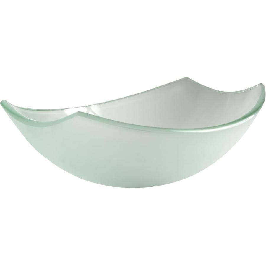ANZZI Pendant Frosted Tempered Glass Oval Vessel Bathroom Sink (Drain Included)