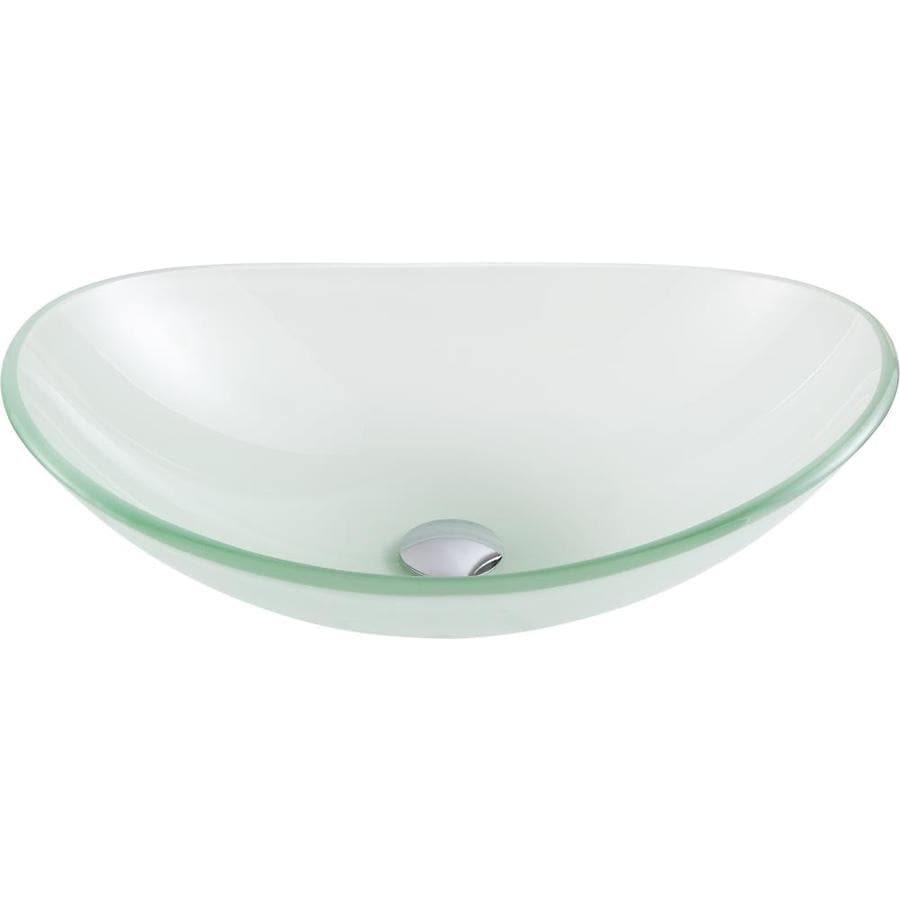 ANZZI Forza Frosted Tempered Glass Oval Vessel Bathroom Sink