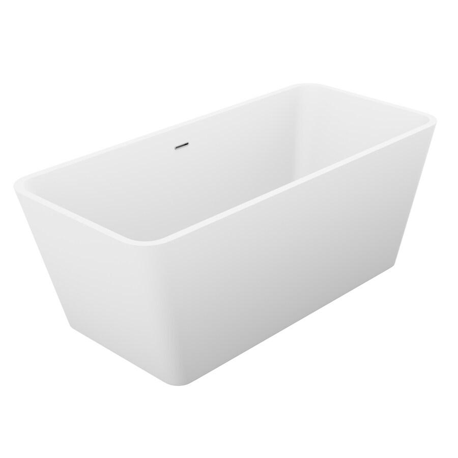 ANZZI Cenere Series 58.25-in White Acrylic Freestanding Bathtub with Center Drain