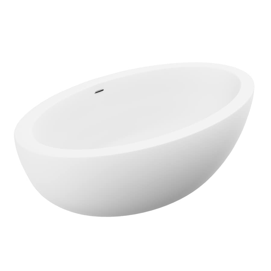 ANZZI Lusso Series 75.5-in White Solid Surface Freestanding Bathtub with Center Drain