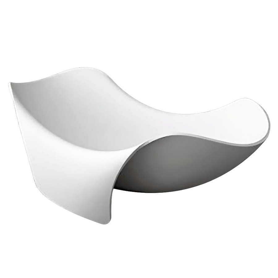 ANZZI Cielo Series White Solid surface Oval Bathtub Bathtub with Center Drain (Common: 55-in x 78-in; Actual: 27.5-in x 55-in x 78.7-in)