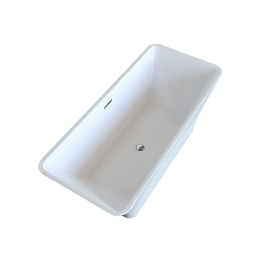 ANZZI Arden Series 66.5-in Glossy White Acrylic Freestanding Bathtub with Center Drain